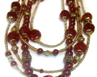 Long Multi Strand Necklace, Beautiful Crimson Red Pearls Gold Beaded Necklace, Modern Five Strand Style Necklace