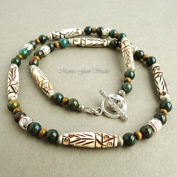 Bloodstone Tribal Carved Bone Necklace for Men, Green ...   570 x 570 jpeg 70kB