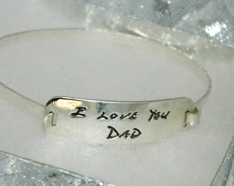 In memory of Dad Handwriting Bracelet Signature Jewelry in Sterling Silver