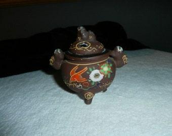 Incense Burner Vintage Colorful Hand Painted Porcelain Incense Burner Made In Japan