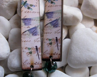 Dragonfly Woodcut Earrings Purple Green Blue Shabby Chic