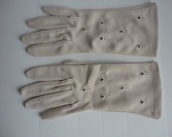 Vintage Beige Nylon blend  Shorties Gloves from 60s