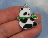 ReSERVE For Gayle - 40 Panda Bear Charms Eating Bamboo Black White Green Enamel & Silver Tone (P1637 -40)