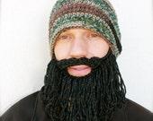 camo hat with beard, long beard hat, mens crochet beard hat, The Original Beard Beanie™ shaggy - camo with black/gray beard, knit beard hat