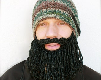 camo hat with beard, long beard hat, mens crochet beard hat, The Original Beard Beanie™ shaggy - camo with black/gray beard, knit beard hat