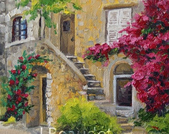 Giclee Print of Original Oil Painting Palette KNIFE French Door IMPRESSIONIST Bougainvillea 12x12 square