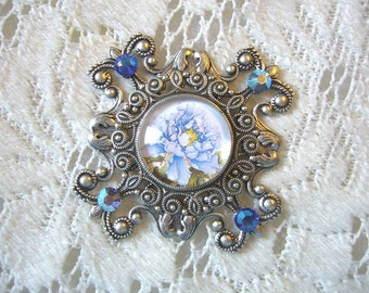Baby Blue Victorian Pendant Free Shipping in USA