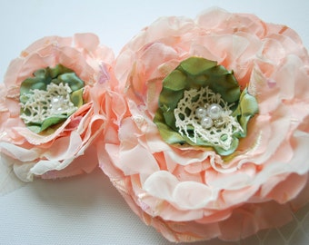Peach Pale Pink Paris Green Bridal Hair Flower Comb, Weddings Accessories, Bridal Broosh Fascinator Clip, Flower Sash, Bridesmaids Corsage
