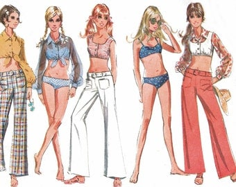 1960s McCall's 9704 (Jr.7-B32) Misses Hiphugger Bell Bottom Pants, 2-Piese Swimsuit, Blouse, Midriff Top 1969 Womens Vintage Sewing Pattern
