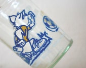 Vintage Welchs Tom and Jerry Jelly Jar Juice Glass Soccer Player Blue White Yellow Cartoon