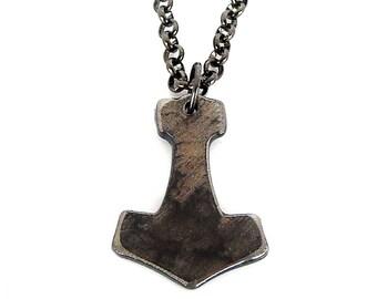 Thor Hammer Chain / Cosplay Thor Charm on Gunmetal Chain Handmade by WATTO Distinctive Metal Wear