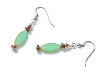 Green Czech Glass & Copper Hematite Earrings, Good Health, Short Dangle, French Ear Wires