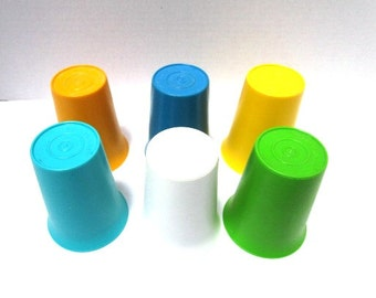 Vintage Tupperware Tumblers 6 pc Set, Retro, Bell Shaped Plastic Unbreakable, Kids Picnic Lunch, White Blue Aqua Green Gold Yellow
