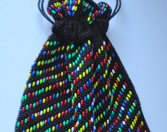 Multicolor Beaded Drawstring Pouch. 1960s Circus Pouch Purse.