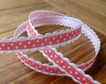 5 meters grosgrain red spotty ribbon with white scalloped edge 10 mm, free shipping within UK