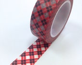 Washi Tape - 15mm - Red and Black Gingham - Deco Paper Tape No. 899
