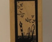 Vintage Venice ItalyTravel Poster with birds and water Rubber Stamp