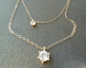 Gold Layered Necklace CZ  / Solitaire / multi strand / delicate everyday  jewelry / bridal / minimal  / wedding necklace