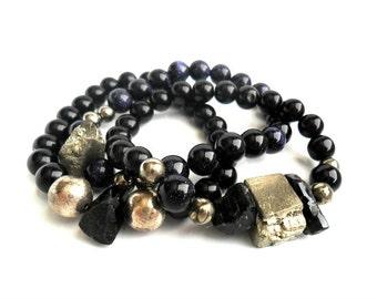 Druzy Pyrite Bracelet  / Raw Black quartz  / Blue sunstone and Obsidian Bracelet  / Gemstone  Bracelet  Stacks  / Tribal chic Bracelet