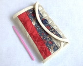 Crochet Hook Case - French General khaki, red and blue, pieced and  quilted cotton carrying case, tri fold hook storage wallet