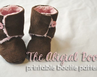 Baby Bootie Pattern PDF Button Up Ugg Boot Style