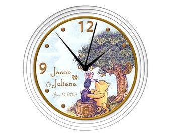 Classic Winnie the Pooh Wall Clock - Personalized - Blue - Baby's Birth Date, Weight