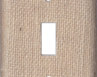 Burlap Wall Switch Plate/Outlet Cover/Rocker/Phone/Cable and More - Your choice of fabric and  plate type