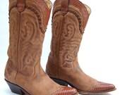 Brown Leather Women's Vintage Cowboy Wingtip Boots Spain MINT