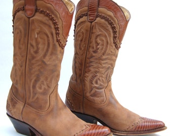 Brown Leather Women's Vintage Cowboy Wingtip Boots Spain MINT