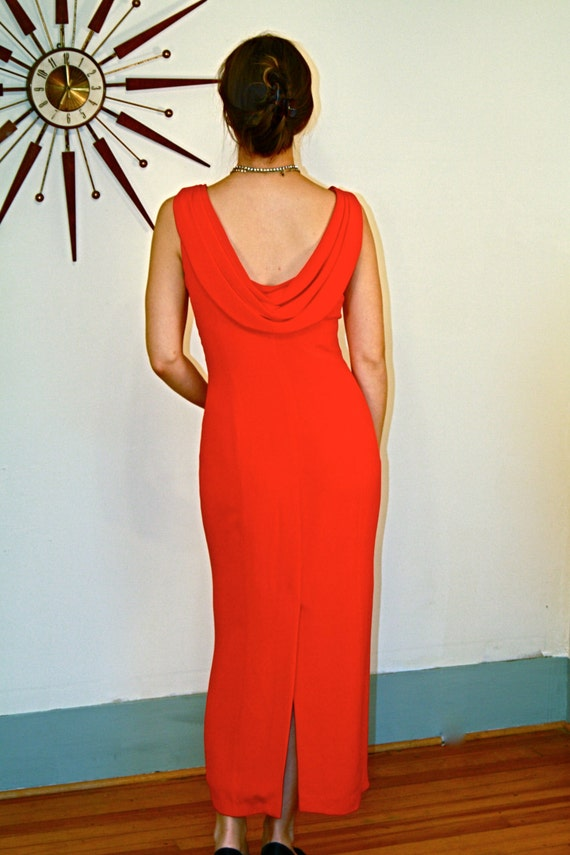 Sexy Evening Dress, Slinky Red Dress, Red SILK dress, Long Cocktail Dress, Low Draped Back,Slinky Red dress,Long Pencil Dress, Holiday Party