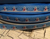 "3/8"" Snowman on Blue Grosgrain sold by the yard"