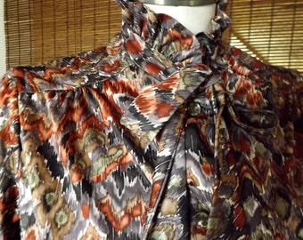 Vintage 70s Rustic Watercolor Abstract Ruffled High Neck Pussybow Blouse L XL Free Shipping