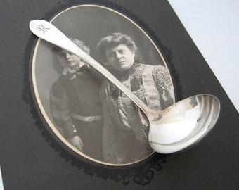 Antique R Monogram Silverplate Cream Ladle