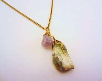 Double vintage stone charm necklace. Jade green and opaque pinkish gray lavender. Long gold upcycled chain. Natural, earthy. OOAK gift.