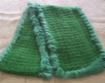 Green Silk and Fur Knitted Muffler Scarf