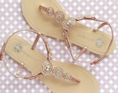 Bohemian Wedding Sandals Boho Chic with Rose Gold Round Crystals Jewels Bridal Thong Shoes Destination Beach Wedding Something Blue