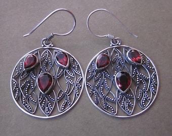 Circles Silver 925 Garnet Dangle Earrings / silver 925 / Bali jewelry / silver granulation art / 1.7 inch long