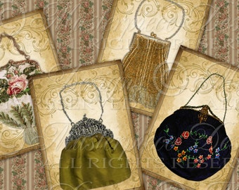Antique Purses / Handbags / Victorian / Hang Tags / Gift Tags / Price Tags - Printables Instant Download and Print Digital Sheet