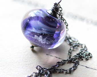 Large Purple Glass Necklace on Sterling Silver Chain - Cosmos - Galaxy Outer Space Summer Fashion