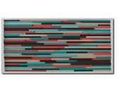 Abstract Wood Wall Sculpture, Coral and Turquoise Art, Wall Art, Stripes, Abstract Painting