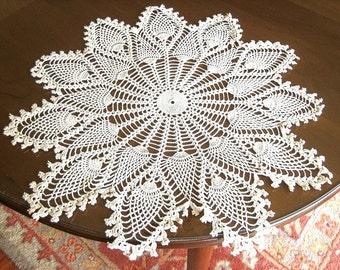 DOILY Centerpiece CROCHETED LACE Cotton Crochet Ecru Tea Tone Crochet Runner Pineapple Doily