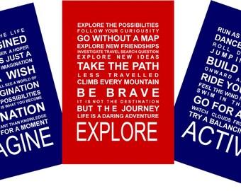 SALE - A3 Typography Prints - Set of 3 Boys adventures A3 prints
