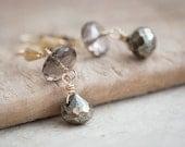 Pyrite Smokey Quartz Earrings 14K gold Luxury sparkling gemstone rustic earth tones gift for her