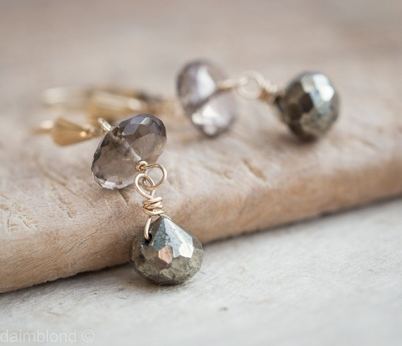 Pyrite Smokey Quartz Earrings 14K gold Luxury sparkling gemstone rustic earth tones gift for her