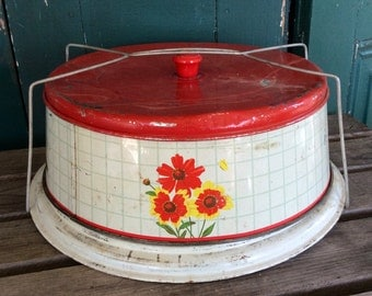 Vintage cake carrier, metal, red, yellow, flowers, floral, vintage kitchen