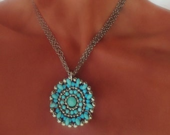 Lomg Turquoise Squash Blossom Pendant Necklace on Silver Chain- Boho Necklaces by Sharona Nissan 4120N