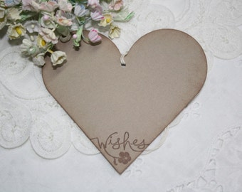 Wish Tree Wedding Tags - Soft Brown Hearts - Wishes - Birthday Wish Tags - Shower Wish Tags