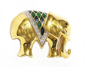 D'Orlan Elephant Figural Brooch