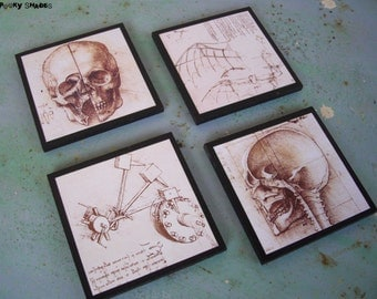 Leonardo Da Vinci skull coasters - set of 4 wooden coasters - Steampunk decor, gift for him, skulls, Italy, anatomy skeleton