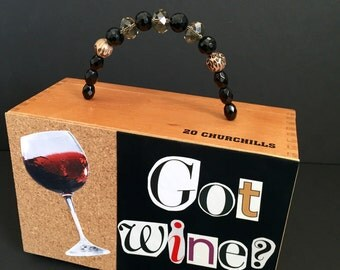 Got Wine? Cigar Box Purse, up cycled handbag, wine themed purse, zebra handbag, evening bag, red wine